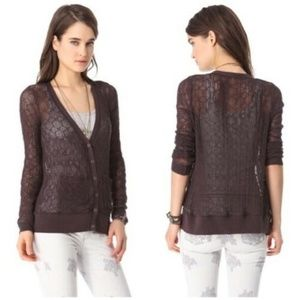 FP Beach Free People Plum Brown Knitted Sweater